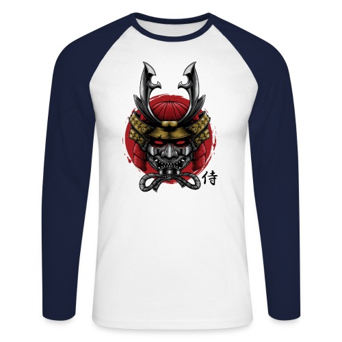 Samurai Head 01 png - Men's Long Sleeve Baseball T-Shirt