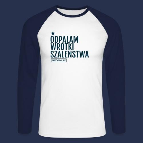 WROTKI SZALENSTWA - napis ciemny - Koszulka męska bejsbolowa z długim rękawem