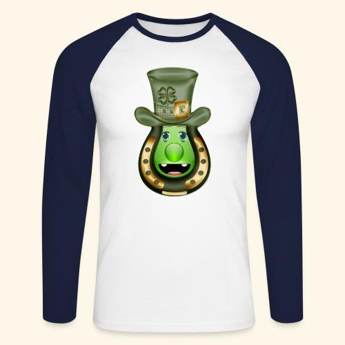 Mr St Patricks Day clover horse shoe hat shamrock - Men's Long Sleeve Baseball T-Shirt