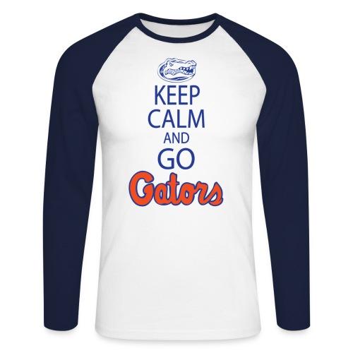 keepcalmnobackplainedithighresblue copy - Men's Long Sleeve Baseball T-Shirt