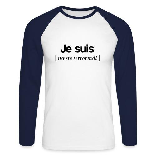Je suis (sort skrift) - Langærmet herre-baseballshirt