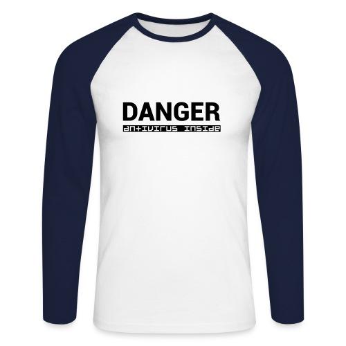 DANGER_antivirus_inside - Men's Long Sleeve Baseball T-Shirt