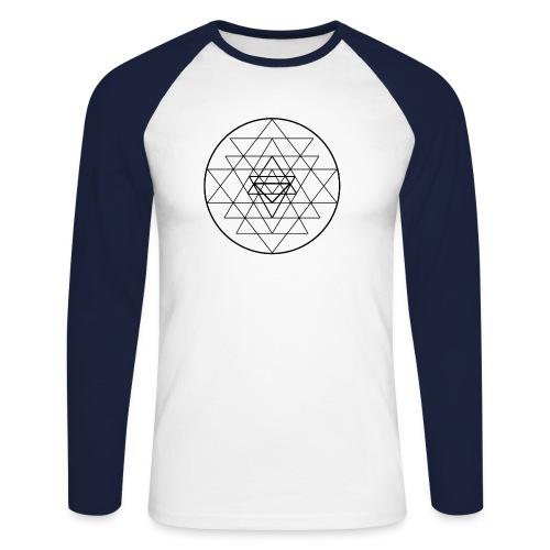 Sri Yantra - black and white - Langærmet herre-baseballshirt