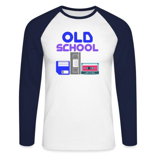 OLD SCHOOL ( Coloured text ) - Men's Long Sleeve Baseball T-Shirt