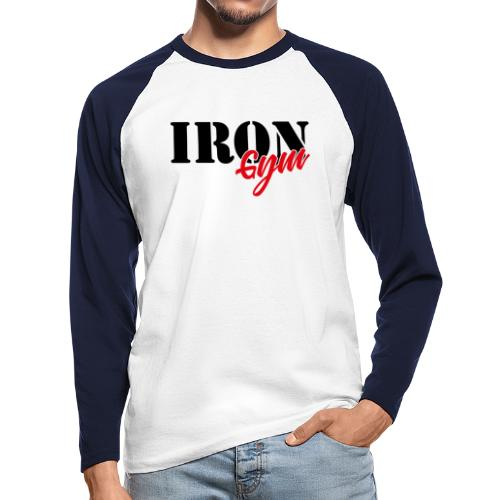 iron gym logo black - Raglán manga larga hombre