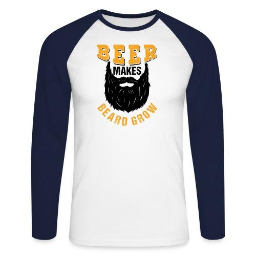 Beer Makes Beard Grow Funny Gift - Männer Baseballshirt langarm