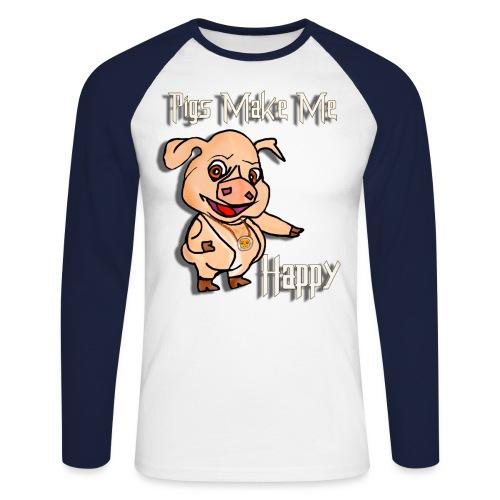 Oh my God pigs maakt mij blij - Mannen baseballshirt lange mouw