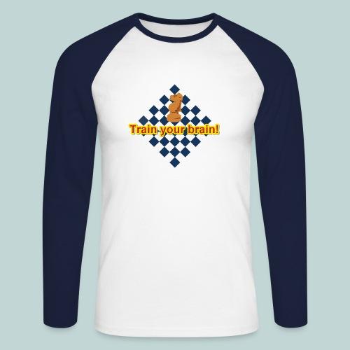 Train your brain blau-gelb - Männer Baseballshirt langarm