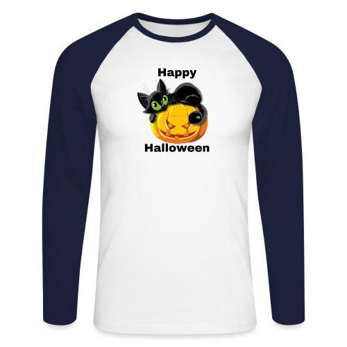 Happy Halloween cat - Men's Long Sleeve Baseball T-Shirt