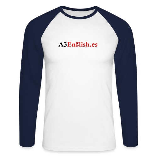 A3English Logo 1 - Men's Long Sleeve Baseball T-Shirt