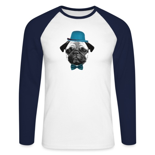 Mops Puppy - Männer Baseballshirt langarm