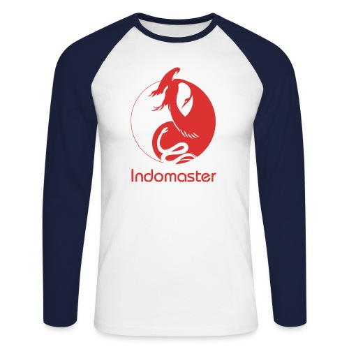 indomaster logo red - Men's Long Sleeve Baseball T-Shirt