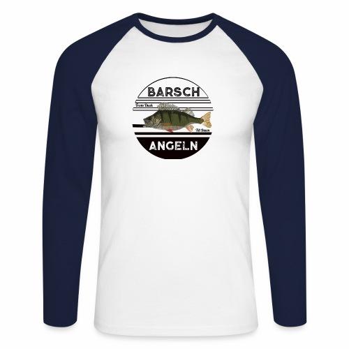 Retro Barsch angeln Schwarz - Männer Baseballshirt langarm