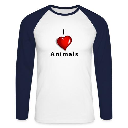 i love animals - Mannen baseballshirt lange mouw
