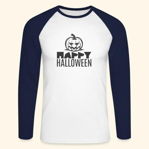 happy halloween pumpkin logo - Raglán manga larga hombre
