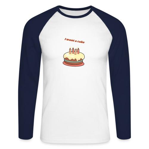 I want a cake - Långärmad basebolltröja herr