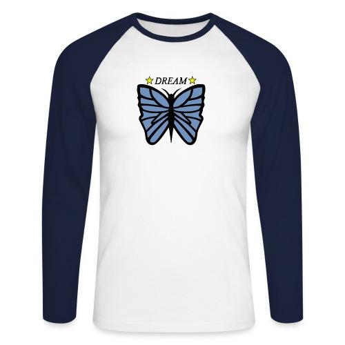 Fjäril, Dream Blå, vit, guld - Långärmad basebolltröja herr