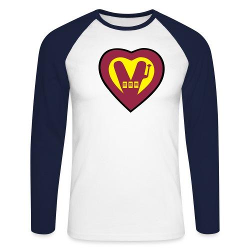 super vegan heart - Men's Long Sleeve Baseball T-Shirt