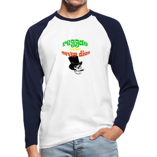 Reggae Muziek Never Dies - Mannen baseballshirt lange mouw