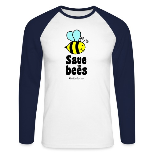 Bees9-1 save the bees | Bienen Blumen Schützen - Men's Long Sleeve Baseball T-Shirt