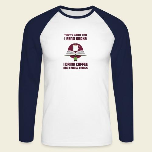 Buch und Kaffee, dunkel - Männer Baseballshirt langarm