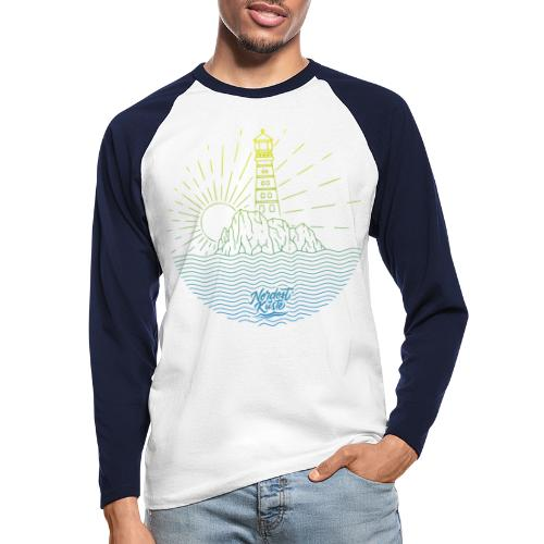 Leuchtturm mit Sonne am Meer - Männer Baseballshirt langarm