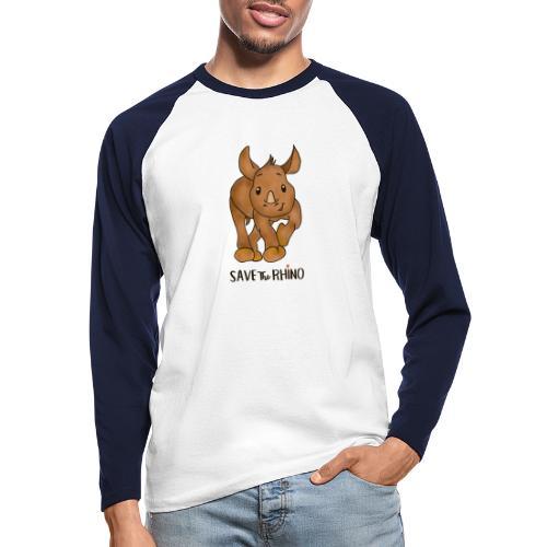 Save the Rhino - Men's Long Sleeve Baseball T-Shirt