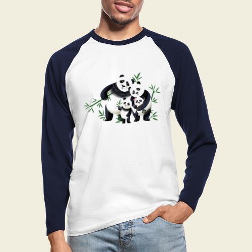 Pandafamilie zwei Kinder - Männer Baseballshirt langarm