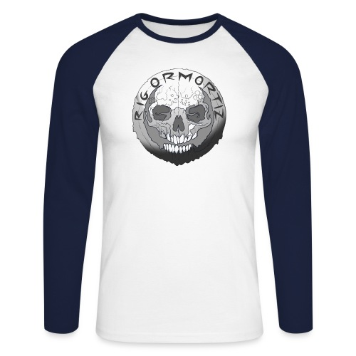 Rigormortiz Black and White Design - Men's Long Sleeve Baseball T-Shirt
