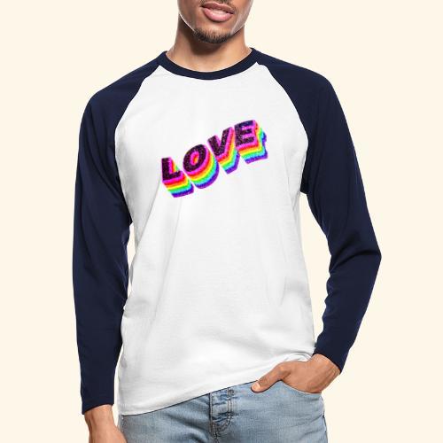 Typo Love Arc en Ciel LGBT - T-shirt baseball manches longues Homme