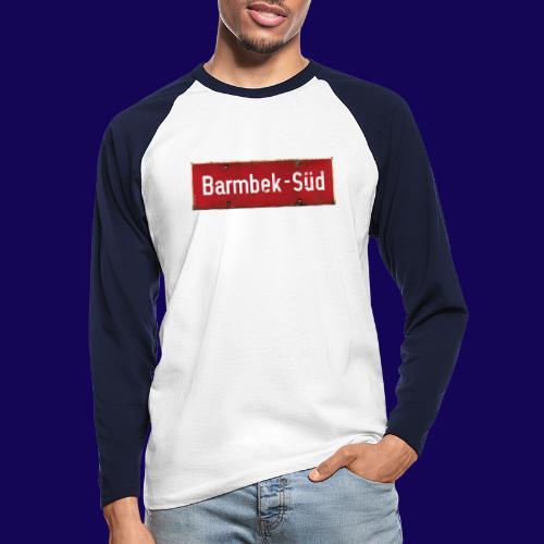 HAMBURG Barmbek Sued Ortsschild rot antik - Männer Baseballshirt langarm