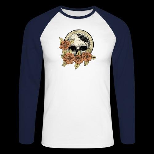 Rose et tête de mort - T-shirt baseball manches longues Homme