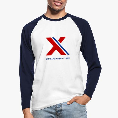 extrembb logo red blue x - Männer Baseballshirt langarm
