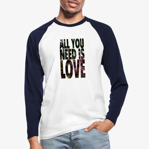 All You need is love - Koszulka męska bejsbolowa z długim rękawem