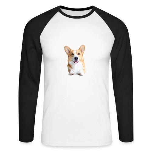 Topi the Corgi - Frontview - Men's Long Sleeve Baseball T-Shirt