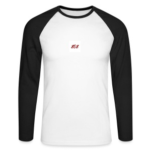 808 red on white box logo - Men's Long Sleeve Baseball T-Shirt
