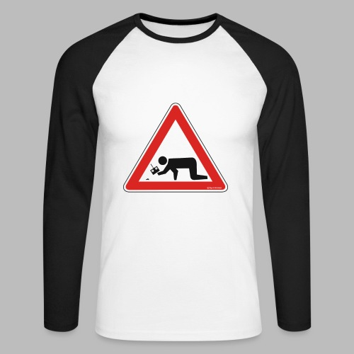 Mikromodell Warnschild Hände - weisse Schrift - Männer Baseballshirt langarm