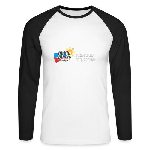 Philippinen-Blog Logo deutsch schwarz/weiss - Männer Baseballshirt langarm