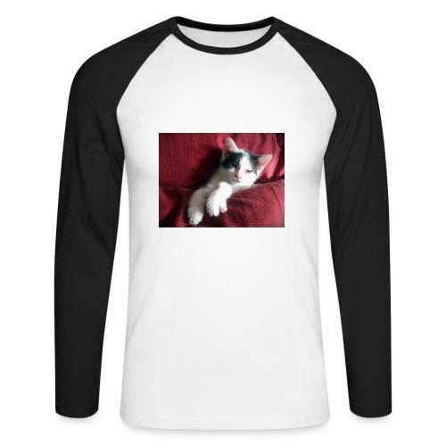 Katze in rot - Männer Baseballshirt langarm