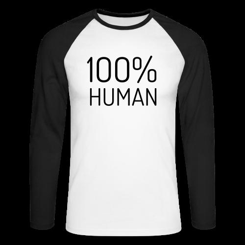 100% Human - Mannen baseballshirt lange mouw