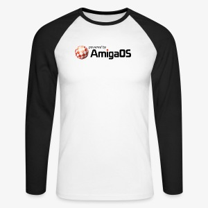 poweredByAmigaOS Schwarz - Men's Long Sleeve Baseball T-Shirt