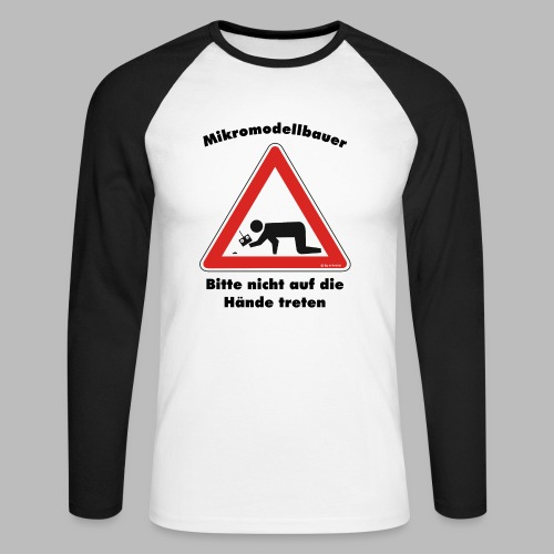 Mikromodell Warnschild Hände - Männer Baseballshirt langarm