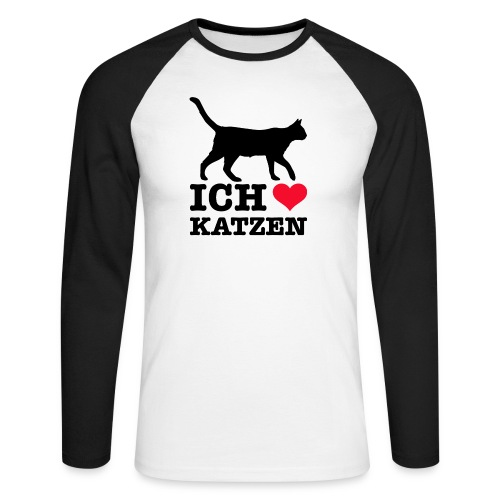 Ich liebe Katzen mit Katzen-Silhouette - Männer Baseballshirt langarm