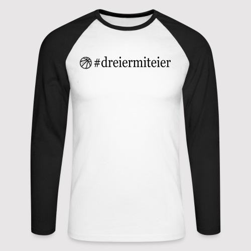 dreiermiteier Text schwar - Männer Baseballshirt langarm