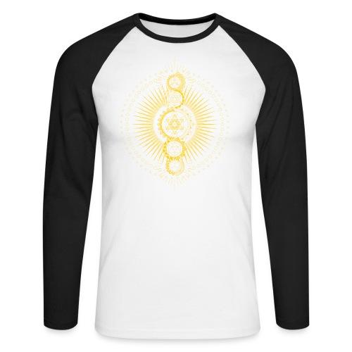 Sacred Geometry Metatron's Cube Gold Transcendence - Men's Long Sleeve Baseball T-Shirt