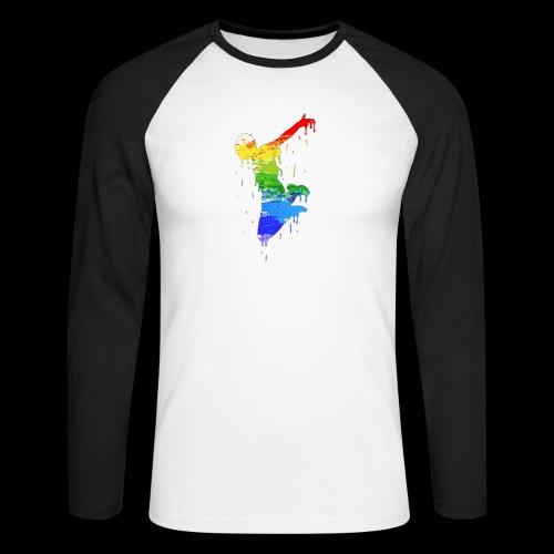 jump design paint - Men's Long Sleeve Baseball T-Shirt