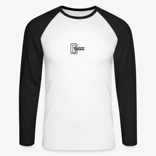 thiccc logo WHITE and BLACK - Men's Long Sleeve Baseball T-Shirt