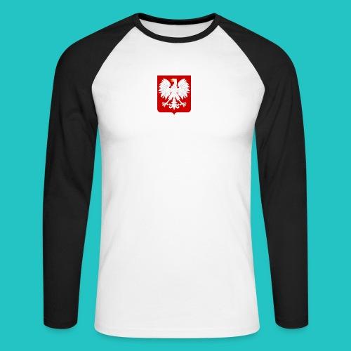 Koszulka z godłem Polski - Koszulka męska bejsbolowa z długim rękawem