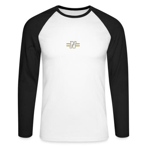 White N with stripes - Men's Long Sleeve Baseball T-Shirt