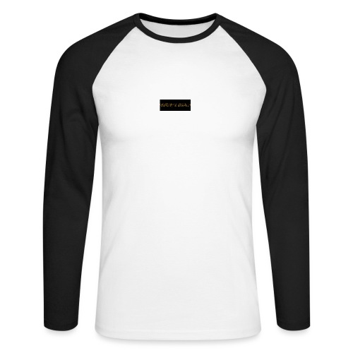 orange writing on black - Men's Long Sleeve Baseball T-Shirt